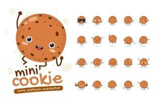 set di caratteri mascotte mini cookie vettore