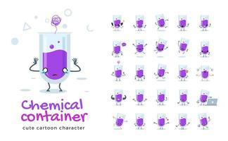 set di caratteri mascotte tubo chimico vettore