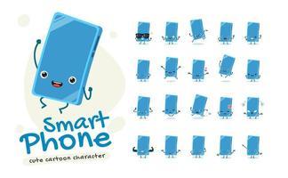 set di caratteri mascotte smartphone vettore