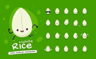 set di caratteri mascotte di riso bianco vettore