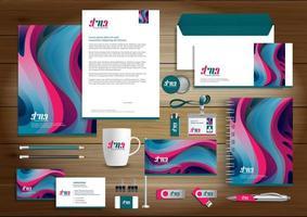 set di identità brillante forma curva e articoli promozionali