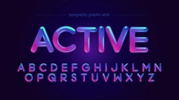 tipografia arrotondata al neon vibrante colorato vettore