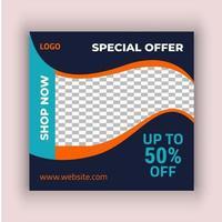 modello di social media vendita shopping arancione nero di moda
