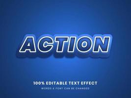 azione blu effetto di testo modificabile 3d vettore