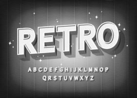 effetto font retrò. alfabeto in stile vecchio cinema.