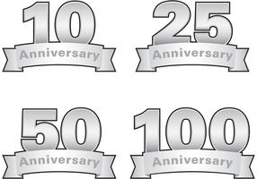 Etichette di vettore di anniversario d'argento