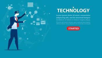landing page tecnologia uomo d'affari vettore