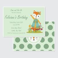 la volpe si siede sul fungo per il biglietto di auguri per il compleanno
