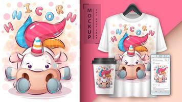 merchandising unicorno carino vettore