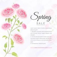 banner di vendita di primavera con rosa dell'acquerello vettore