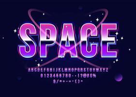 carattere di fantascienza alfabeto retrò spazio