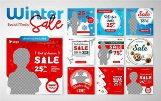 vendita di bambini inverno modelli di post social media vettore