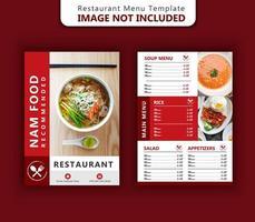 modello di menu del ristorante in rosso design vettore