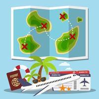 pianificazione dei viaggi sull'isola vettore