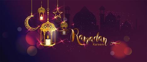 Banner di Ramadan Kareem con lanterne, luna e stelle appese