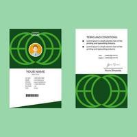 modello di progettazione di carta d'identità elegante pulito verde vettore