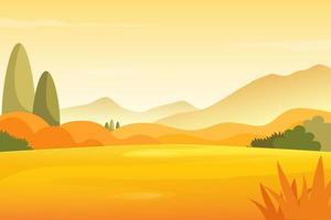 paesaggio del prato di autunno con il fondo delle montagne vettore