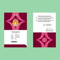 modello di progettazione di carta d'identità forme audaci rosa rosso vettore