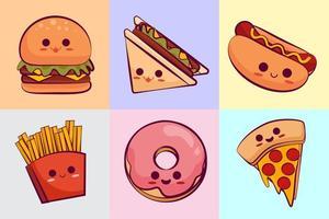 collezione di kawaii fast food vettore