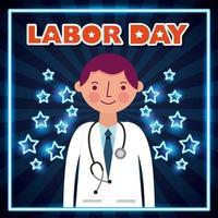poster della festa del lavoro con il medico