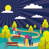 famiglie in piedi nel parco all'aperto sul percorso