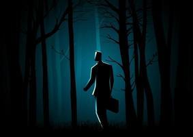 sagoma di uomo d'affari perso nei boschi vettore