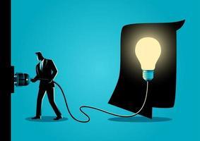 sagoma di uomo d'affari inserendo la lampadina