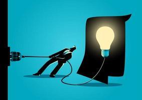 sagoma di uomo d'affari che scollega lampadina vettore
