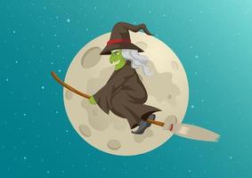 strega del fumetto che vola davanti alla luna piena vettore