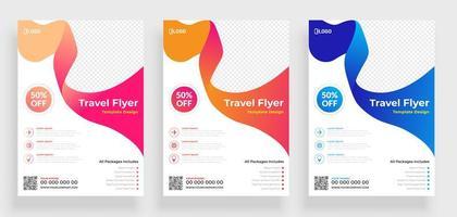 insieme di modelli di progettazione flyer di viaggio vettore