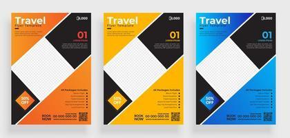 set di modelli di volantino viaggio cornice quadrata colorata vettore