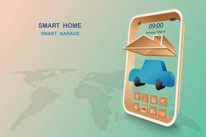 casa intelligente con controllo del garage vettore