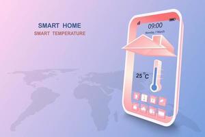 casa intelligente con controllo della temperatura vettore