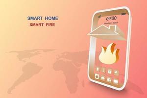 casa intelligente con allarme antincendio vettore