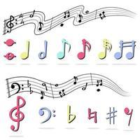 nota musicale impostata su bianco vettore