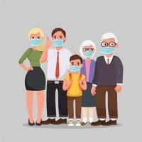 famiglia che indossa maschere mediche protettive vettore