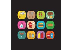 Icone di vettore di cibo piatto campo