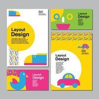 set di carte per bambini con scarpe, auto e altri oggetti vettore