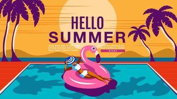 donna in vacanza estiva galleggianti in piscina vettore