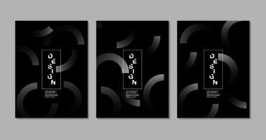 cartoncino nero con semicerchi grigi vettore
