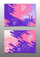 copertina del rapporto annuale viola e rosa vettore