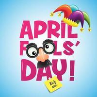 segno del giorno di pesce d'aprile con cappello maschera e giullare