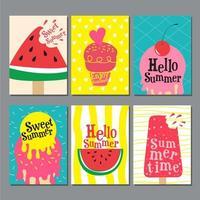 set di carte dolci estate brillante vettore