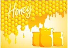 Sfondo a goccia di miele con barattoli vettore