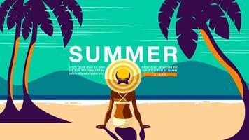 manifesto di estate con la donna che esamina spiaggia vettore