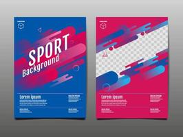 modello di copertina sportiva rosa e blu vettore