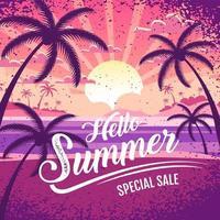 poster di vendita estate colorata con scena di spiaggia vettore