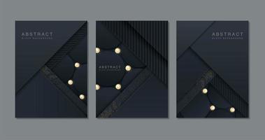 set di carte tagliate ad angolo con texture e glitter vettore