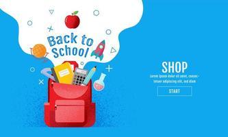 torna a scuola banner vendita blu
