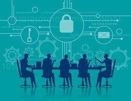incontro di lavoro sulla sicurezza informatica vettore